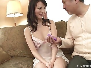 After he makes Misako Kumagai wet using toys he gives him a blowjob