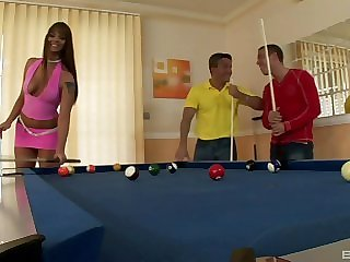 Pool game turns earn a hot threesome anent Simony Diamond getting pounded