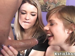 Haileey James and Katie Thomas swallow cum surrounding an interracial foursome