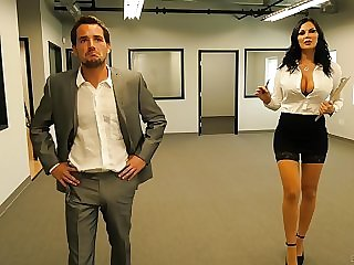 Slutty secretary Jasmine Jae fucks and eats cum within reach the office