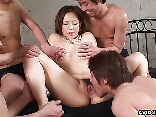 Riru burned-out by the boys and teased thither all pointy chattels