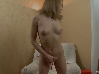 Insatiable Ingrid spreads her legs for a solo game with a toy
