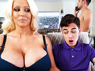 Busty stepmom interested to taste schoolboy's dick