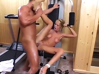 Babe with big natural boobs got two cocks