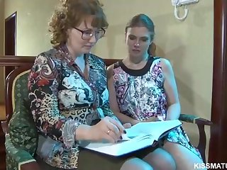 Blond Russian mature is about to poke a new all girl woman with a cord- on