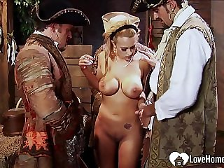 Hot babe gets gangbanged by saleable studs
