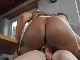Big botheration black milf approximately stockings rides his young white dick
