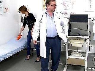 Youthful Socking Lassie With fleshy Sagging cupcakes Comes To gynecology medic sex glaze