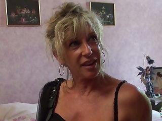 La Cochonne - Mature blonde French newbie gets cum covered