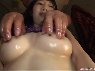 oiled Fujie Shiho adores hard sex from behind with a stranger