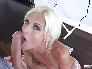 Freckled blonde MILF in insane POV scenes on a huge dick