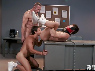 Naked gay lovers in dirty threesome fetish on cam