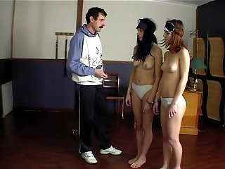 Two girls spanking & shame