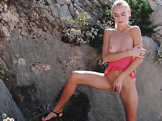 Alluring blonde reveals her skinny forms in excellent XXX