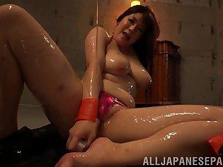 Kinky model Saegusa Chitose oiled and pleasured with sex toys