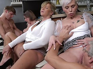 Young lad suits these old sluts by fucking them all