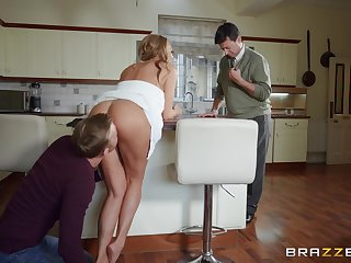MILF sticks entire dick up her ass while hubby is in the house