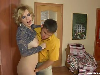 Hot russian mature fucking a young guy
