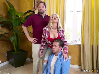 Energized blonde gags and fucks hubby's best friend in a home cuckold