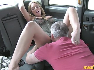 Nasty blonde slut Stacey Saran loves eating his ass - Fake taxi