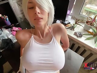 Hot blonde is sucking dick like a real pro and spreading up to get fucked hard