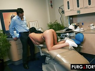 Smoking hot brunette with big tits is having hardcore sex with her handsome dentist, in his office