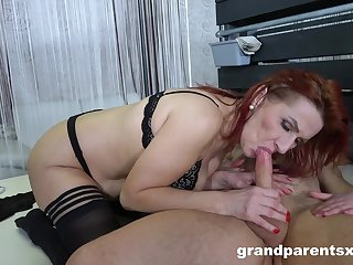 Throated mature in threesome with the stepdaughter