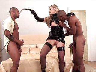 Black guys with hard dicks fuck all holes of slutty Katy Caro