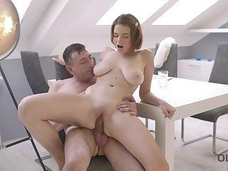 Naturally busty babe Marina Visconti having good sex with an older man